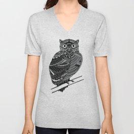 Sitting Owl Unisex V-Neck