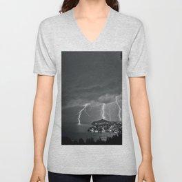 Lighting Storm on the coast, Adriatic Ocean black and white photograph Unisex V-Neck