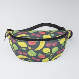 Illustrated fruits pattern on a black background Fanny Pack