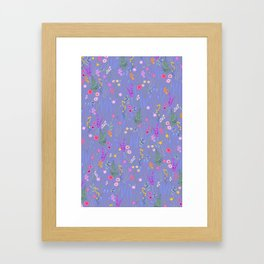 blue meadows colorful floral pattern Framed Art Print