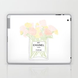 perfume no.5 with pink and yellow flowers Laptop & iPad Skin