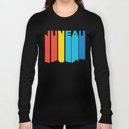 Retro 1970's Style Juneau Alaska Skyline Long Sleeve T-shirt
