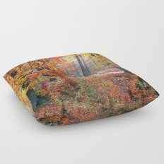 Colorful Autumn Fall Forest Floor Pillow