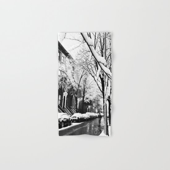 Black and White Photo of the Beautiful Brooklyn Heights covered in icy snow Hand & Bath Towel