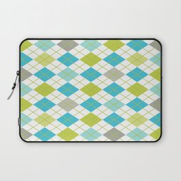 Retro 1980s Argyle Geometric Pattern in Modern Bright Colors Blue Green and Gray Laptop Sleeve