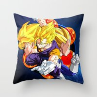 vegeta Throw Pillows featuring DBZ - Goku, Vegeta and Vegeto by Mr. Stonebanks