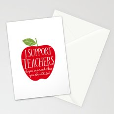 I Support Teachers (apple) Stationery Cards