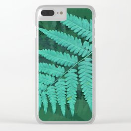 From the forest - turquoise on green Clear iPhone Case