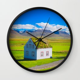 Traditional icelandic timber house Wall Clock