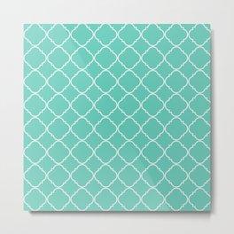 Tiffany blue Quatrefoil Pattern Metal Print