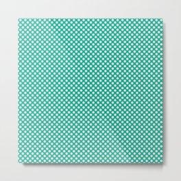Peacock Green and White Polka Dots Metal Print