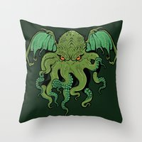 cthulhu Throw Pillows featuring Cthulhu by missmonster