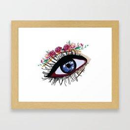 Blue eye & flowers Framed Art Print