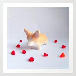 Corgi Dog Love Art Print