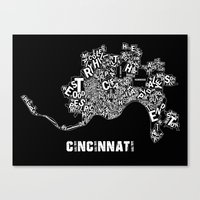 cincinnati Canvas Prints featuring Cincinnati by Ricky Riccardo
