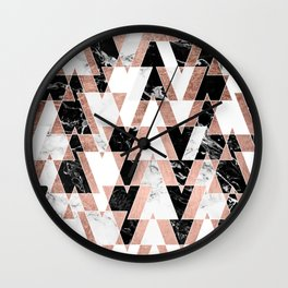 Modern geometric triangles rose gold black white abstract marble pattern Wall Clock