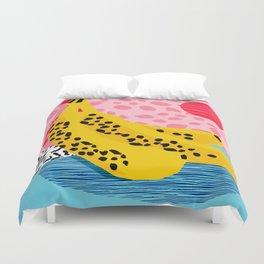 What It Is - memphis throwback banana fruit retro minimal pattern neon bright 1980s 80s style art Duvet Cover