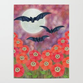 moonlit black bats and poppies Poster