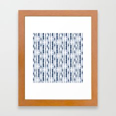 Shibori Stripes 2 Indigo Blue Framed Art Print