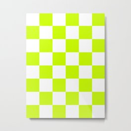 Large Checkered - White and Fluorescent Yellow Metal Print