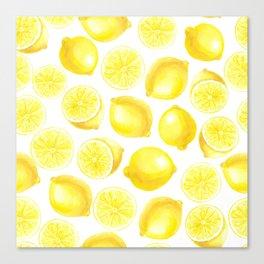 Watercolor lemons design Canvas Print