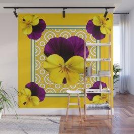 Golden Modern Art Deco Purple Pansy Pattern Art Wall Mural