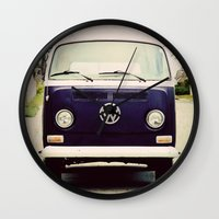vw bus Wall Clocks featuring Blue VW Bus by Anna Dykema Photography