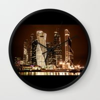 moscow Wall Clocks featuring Moscow city by Vlad&Lyubov