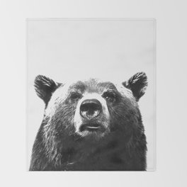 Black and white bear portrait Throw Blanket
