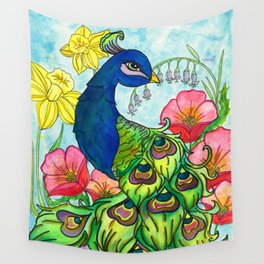 peacock and flowers Wall Tapestry