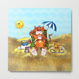 Cat at the Beach Metal Print