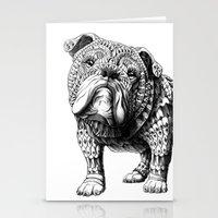 english bulldog Stationery Cards featuring English Bulldog by BIOWORKZ