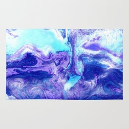 Swirling Marble in Aqua, Purple & Royal Blue Rug