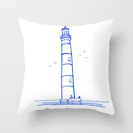 Lighthouse Watercolor Line Drawing Throw Pillow