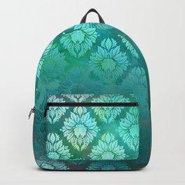 """Turquoise Ocean Damask Pattern"" Backpack"