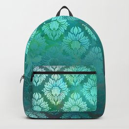 """Turquoise Ocean Damask Pattern"" Backpack"