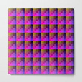 Pink And Yellow Mustard Checkered Pixel Art Pattern Metal Print