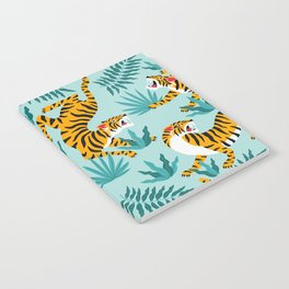 Asian tigers and tropic plants on background. Notebook