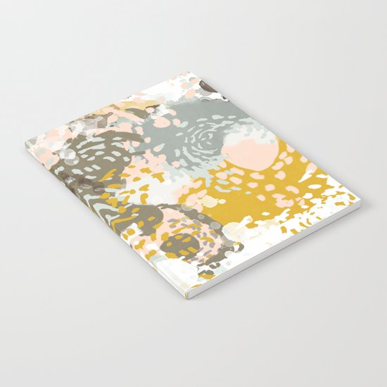 Hutton - Modern abstract painting for home decor and cell phone cases in gold grey mint white Notebook