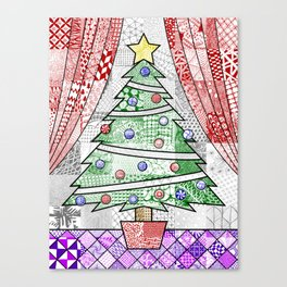 Coloured Christmas Tree Canvas Print