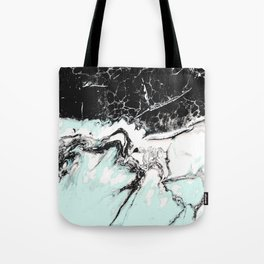 mint black and white marble Tote Bag