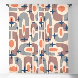 Mid Century Modern Cosmic Abstract 127 Gray Orange Brown and Blue Blackout Curtain