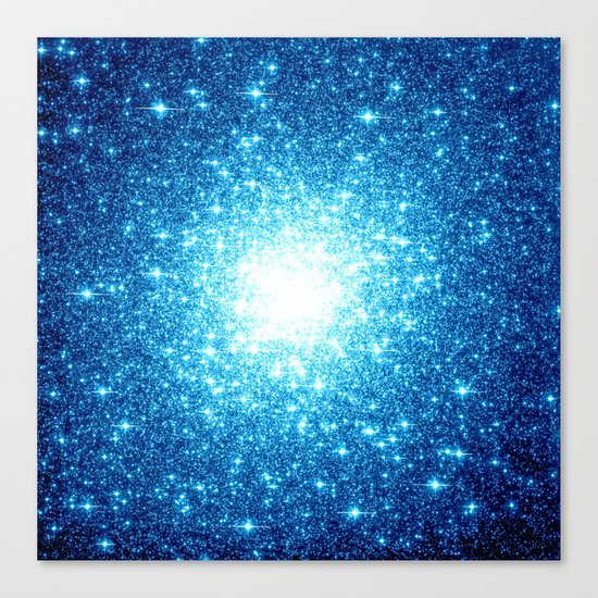 Turquoise Blue Galaxy Stars Canvas Print