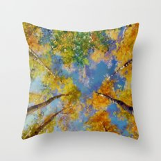 Fall trees in the sky Throw Pillow