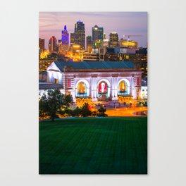 Kansas City Skyline Cityscape - Vertical Canvas Print
