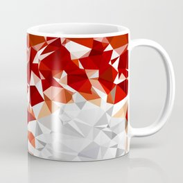 Red and White Spiral Fractal Art Low Poly Geometric Triangles Coffee Mug