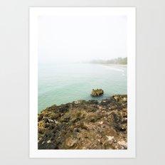 Bay of Pigs Playa Larga Cuba Caribbean Sea Ocean Beach Geology Limestone Tropical Island Fog Mist Ne Art Print