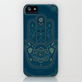 Hamsa Hand in Blue and Gold iPhone Case