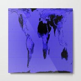 World Map: Gall Peters Indigo Purple Metal Print