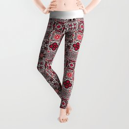 -A33- Red Lovely Moroccan Tiles Design. Leggings